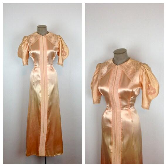 30s Peach Satin Lingerie 1930s Dressing Gown Antique Robe