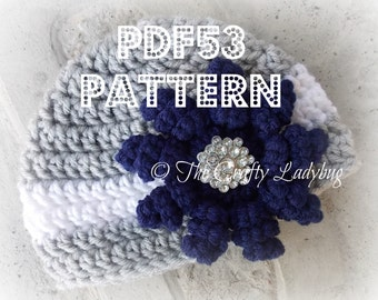 Squirly petal flower hat - PDF53 - newborn size only - crochet pattern - instant download