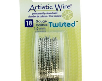 18ga Artistic Wire Twisted Stainless Steel Color NonTarnish Wire 6' SALE