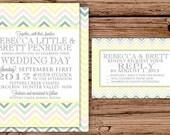Colored Chevron Wedding Invitation