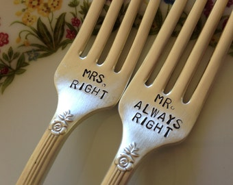 vintage silverware hand stamped wedding fork cake fork Mrs Right  and  Mr Always Right