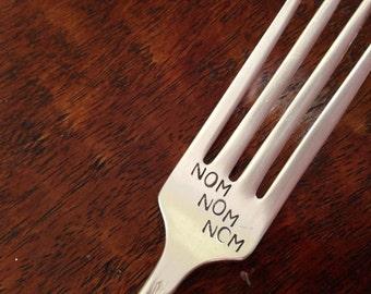 Nom Nom Nom   recycled vintage silverware hand stamped fork