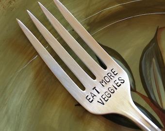 vintage silverware hand stamped fork Eat More Veggies