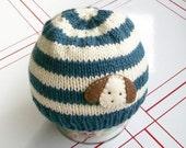Striped puppy dog hat- knit hat size 6 months