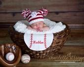 Newborn Baseball Pom Pom Hat- ready to ship baby photo prop hat