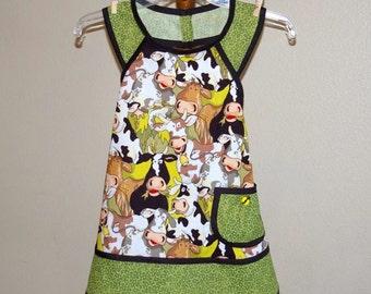 Child Green and Black Retro Cow Apron-Size 8