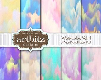 "Watercolor, Vol. 1, 10 Piece Digital Scrapbooking Paper Pack, 12""x12"", 300 dpi .jpg"