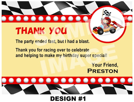 Race Car Thank You Note Race Car Thank You Card Party