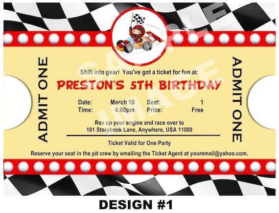 Race Car Invitation Ticket Invitation Party Printable
