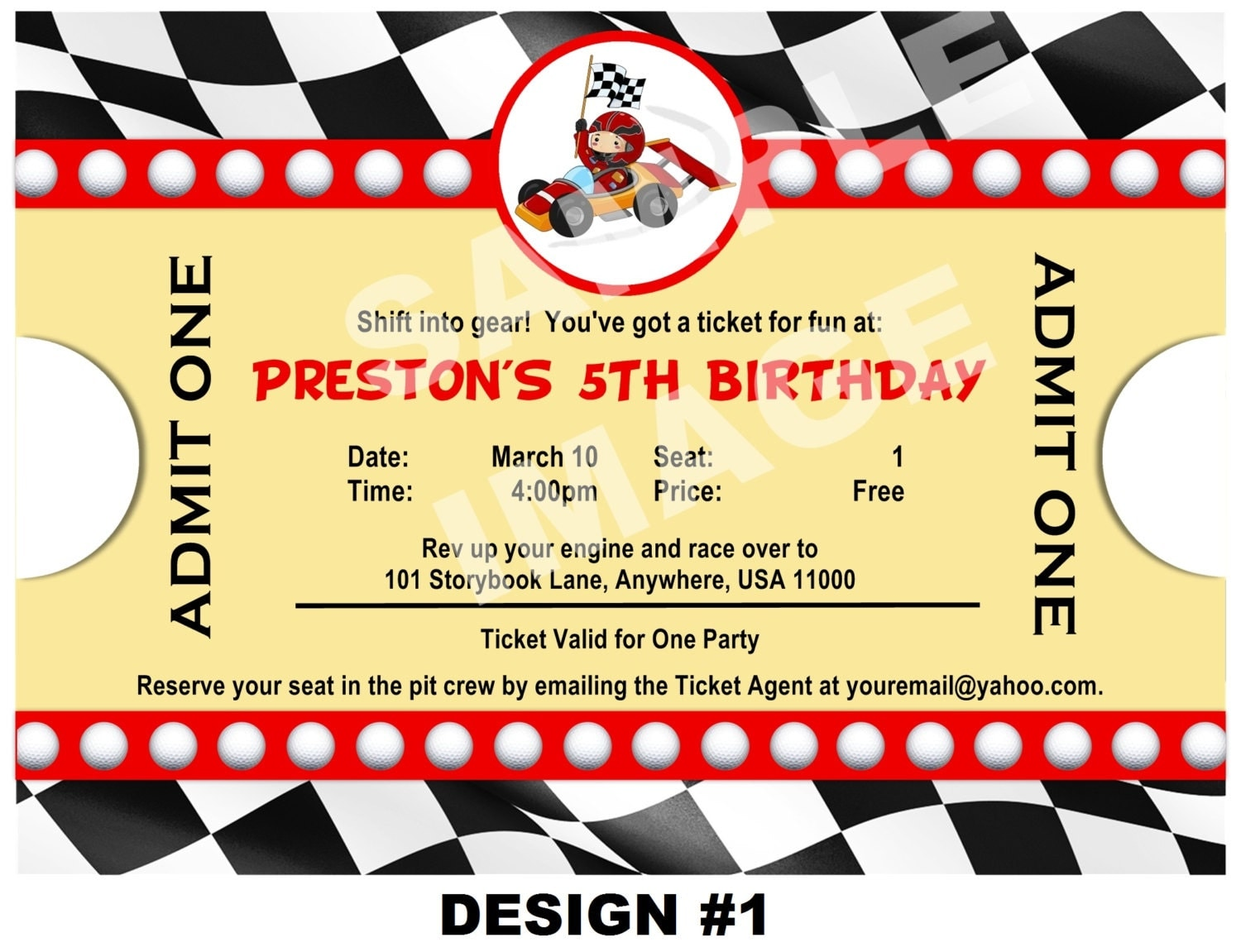 race car invitation ticket invitation party printable 🔎zoom