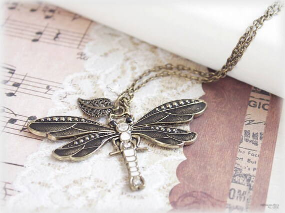 CLEARANCE 50% OFF Dragonfly necklace, large grey enamel charm  pendant spring woodland vintage style jewelry