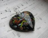 Black, Rainbow Murano Glass Heart Pendant