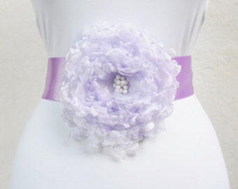 Wedding Dress,Coctail Dress,Night Dress Belt/Sash with Lavender Flower,Bride ,Bridesmaid.