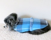 Fleece Small Dog's Coat Navy & Sky Blue Plaid OOAK (One of a Kind) for Toy and Teacup Size Yorkie Pomeranian