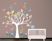 Wall decal Tree decal with owls and butterflies. Nursery Wall Decal. Wall Sticker.