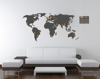 7 FEET WIDE. World map decal. Wall Decal. Wall Sticker.