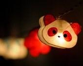 20 x Panda teddy bear and Flower cute handmade paper lantern string light garland girl room kid party decoration home