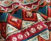 Colorful Stripe Cotton Linen Fabric BOHO Vintage Bohemian Wall Painting Style Fabric-  1/2 Yard
