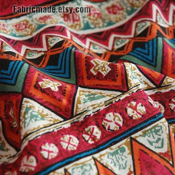 Sale Colorful Stripe Cotton Linen Fabric Boho Vintage