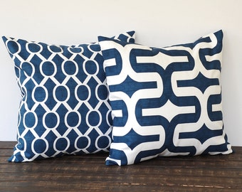 Throw pillow covers pair of two cushion covers decorative pillows new navy blue and white nautical beach decor
