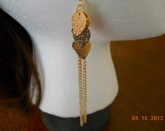 Gold Leaf Charm Earrings with Two Gold Chain Dangles