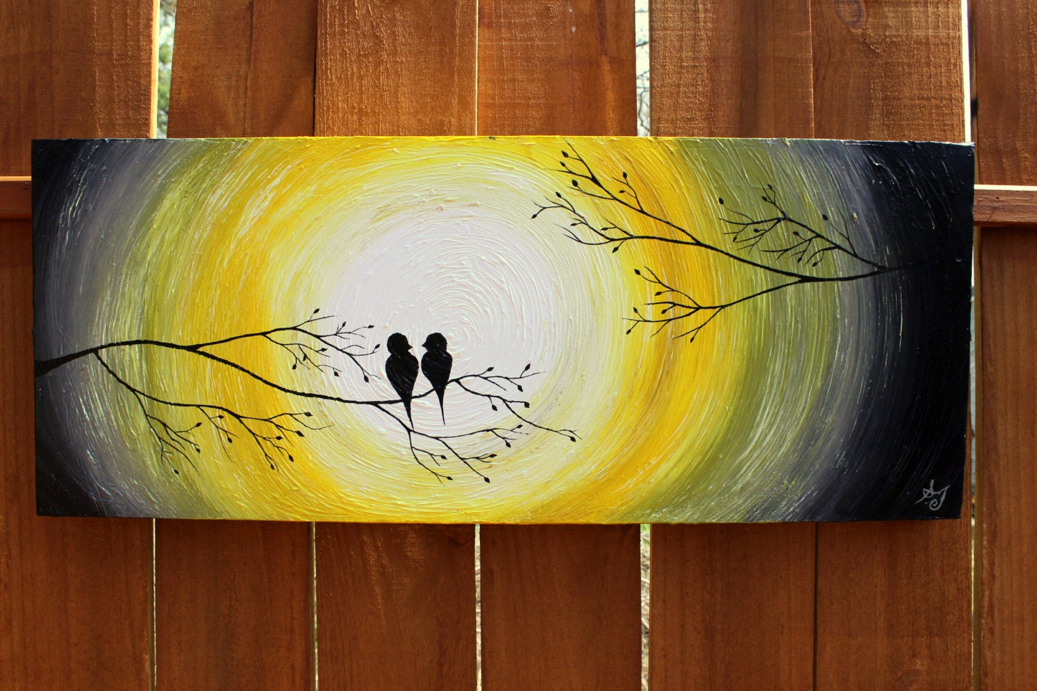Abstract Painting Ideas Acrylic: Grey And Yellow: Love Birds In The Sunrise/Sunset On A Tree