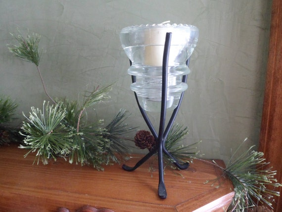 Glass insulator candle holder with metal stand by btckreiner for Insulator candle holder