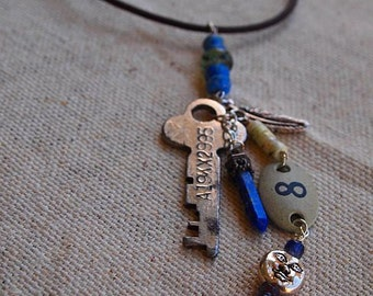 Charm Necklace 8 on Leather Cord