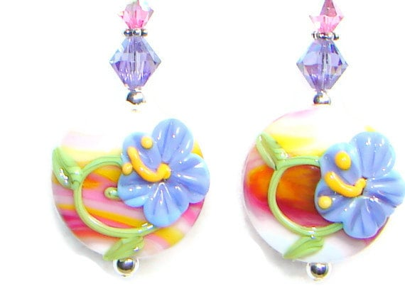Hibiscus Earrings, Lampwork Earrings, Purple, Orange, Pink, Swarovski Crystal, Sterling Earrings, Flower Earrings