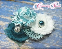 Turquoise, Teal Hair Accessories, White, Headband, Shabby Chiffon Fabric Flowers, Baby Girl Hair Bow, Pageant, Recital, Photo Prop