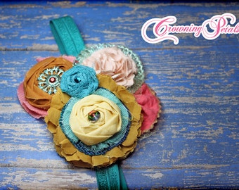Mustard, Coral, Teal Hair Accessory, Turquoise Flower Headband, Fabric Flower Brooch, Hair Accessory, Baby Girl Hair Bow, Hair Piece, Clip