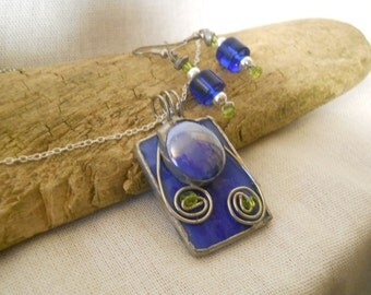 Pendant Blue Stained Glass
