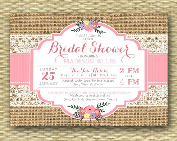 rustic bridal shower invitation burlap lace pink floral typography bridal brunch bridal tea bridal luncheon