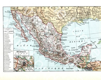 1922 Antique Mexico Map Vintage French Map Vintage Mexico Map Of Mexico Old Mexico Map Old