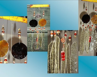 Amber Glass Windchime, Bamboo Wind Chime, Garden Decor, Stained Glass Window, Suncatcher Mobile