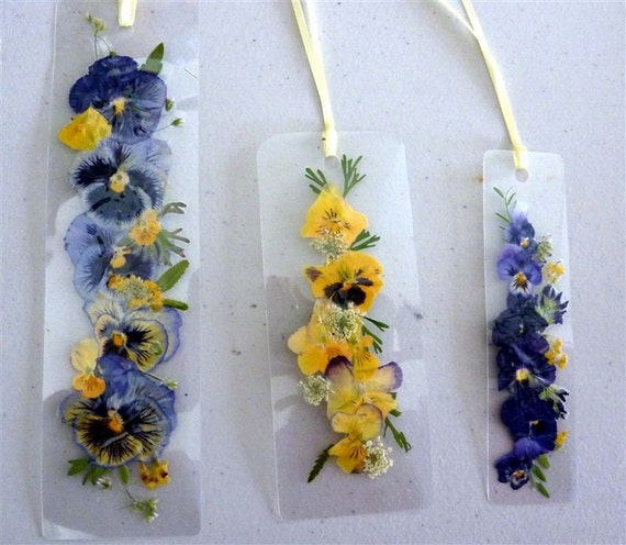 Laminated pressed flower bookmarks with yellow by pauladyer