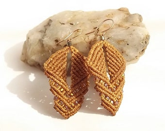Macrame Earrings - Earthy Beaded Earrings