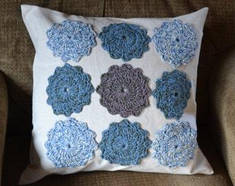 Pillow Flower Crochet  Applique Purple Blue Beige 18 x 18 Throw Pillow Decorative Pillow Handmade LittlestSister