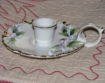 Lefton China Candle Holder Hand Painted KW 9958 Pink Blue Purple Flowers