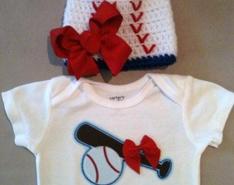 Baseball onesie set for baby girls with matching baseball beanie hat w/ bow
