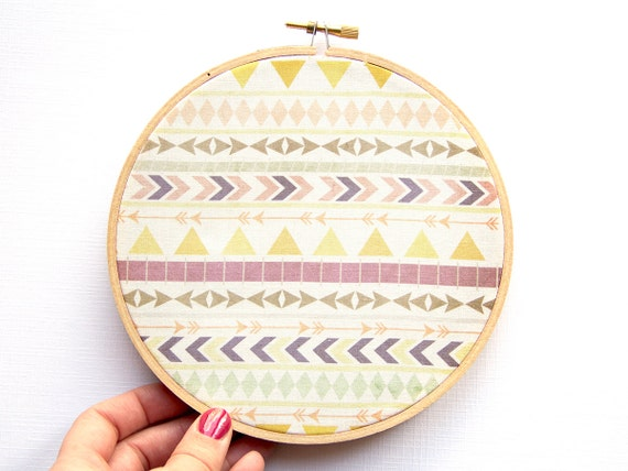 Tribal Pattern Hoop Art - 6 Inch Modern Wall Hanging - Contemporary Design - Original Pattern - Aztec - Triangles Chevron Arrows