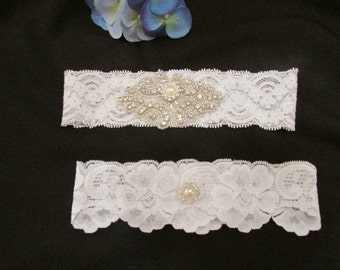 SALE IVORY Wedding Garter, Bridal Garter, Garter - /White or Ivory Garter Set with Pearl & Metal Rhinestone