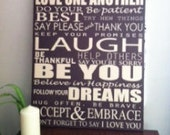 Custom Family Rules, Personalized Canvas word art 20x30, Canvas Family Rules, House rules