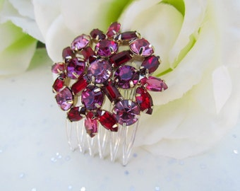 Red and Pink Bridal Hair Comb,Ruby Red Bridal Hair Accessories, Pink Wedding Hair Accessories, Red Wedding Hair Accessories