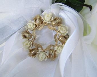 Vintage Bridal Brooch Pin, Bridal Dress Jewelry, Flower Wedding Brooch, Flower Bridal Brooch, Wedding Jewelry, Bridal Accessories