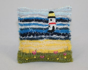 Lighthouse - Embroidered and Felted Pincushion