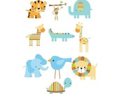 Set of 10 Iron On Heat Transfer Sheets...Blue Jungle Animal  Appliques for  Baby Boy Shower, Blue, Green
