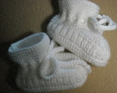 Stay-on White Baby Booties - Size 0 to 3 Month