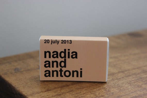 "50 Custom Wedding Favor Matchboxes - ""Nadia Style"""