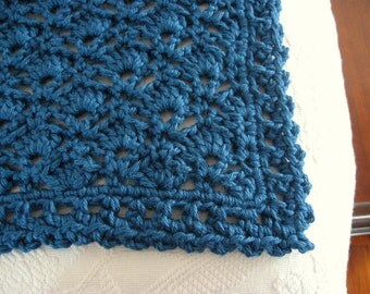 Hand Crochet Afghan - Crochet Blanket | 48 in. x 64 in. | Soft Blanket | Handmade Blanket | Shell Stitch